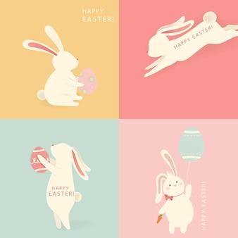 Vrolijk pasen, een set van vier witte grappige cartoon konijn silhouetten karakter met ei