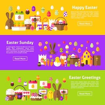 Vrolijk pasen horizontale webbanners. vlakke stijl vectorillustratie voor website header. lente vakantie objecten.