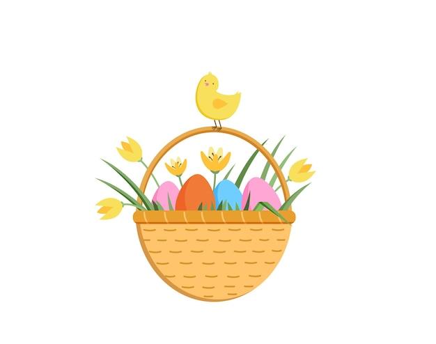 Vrolijk pasen-illustratie met schattig kuiken kleurrijke eieren en gele tulpen in een busket