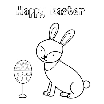 Vrolijk pasen kleurplaat met schattig konijn en ei in glas zwart-wit