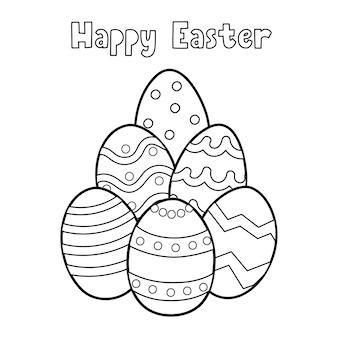 Vrolijk pasen kleurplaat voor kinderen met eieren zwart en wit