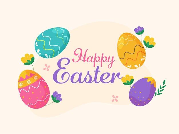 Vrolijk pasen-lettertype met kleurrijke gedrukte eieren en bloemen