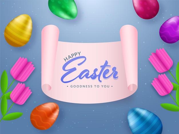Vrolijk pasen-lettertype op roze scroll papier met glanzende kleurrijke eieren en papieren tulp bloemen