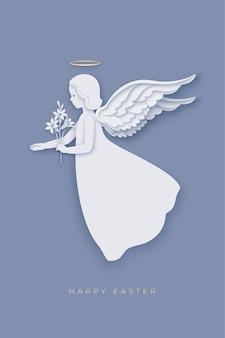 Vrolijk pasen met papier gesneden gelaagde engel met een leliebloem in zijn hand