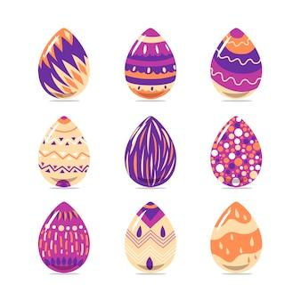 Vrolijk pasen met schattige eieren hand getrokken