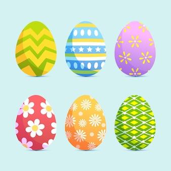 Vrolijk pasen met schattige eieren plat ontwerp
