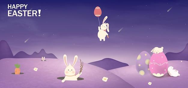 Vrolijk pasen pasen wenskaart. konijnkonijntje met eierenbloemen in een gebied