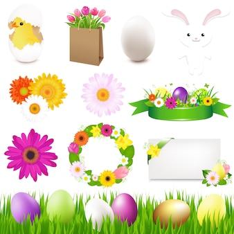 Vrolijk pasen-pictogrammen en groen gras, illustratie