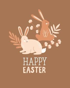 Vrolijk pasen poster, print, wenskaart of spandoek met konijn of konijn, takje katoen, planten en belettering of tekst. vector hand getekende illustratie.