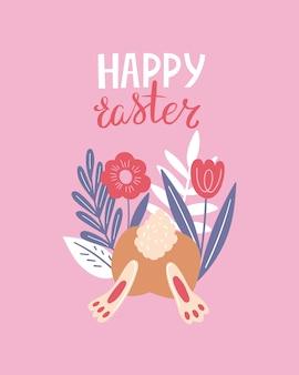 Vrolijk pasen poster, print, wenskaart of spandoek met konijntjes of konijnen, lentebloemen, planten en belettering of tekst. vector hand getekende illustratie.