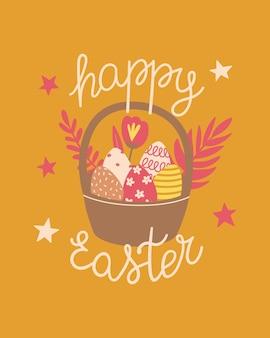 Vrolijk pasen poster, print, wenskaart of spandoek met mand met eieren, lentebloemen en tekst of belettering. vector hand getekende illustratie.