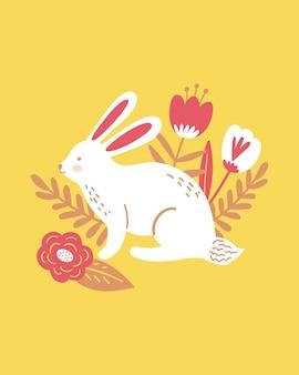 Vrolijk pasen poster, print, wenskaart of spandoek met wit konijn of konijn, lentebloemen en planten. vector hand getekende illustratie.