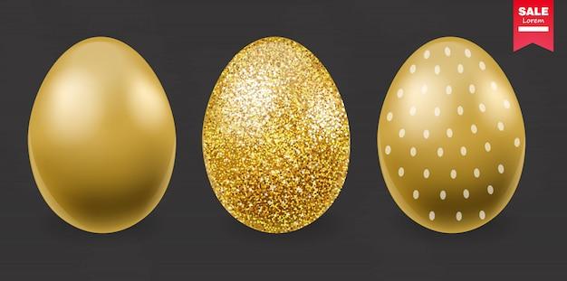 Vrolijk pasen, realistische eieren, gouden glitter eieren banner, zwarte achtergrond
