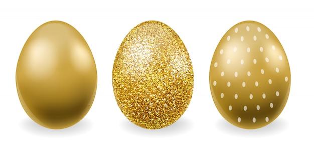 Vrolijk pasen, realistische eieren set, gouden glitter eieren, witte achtergrond