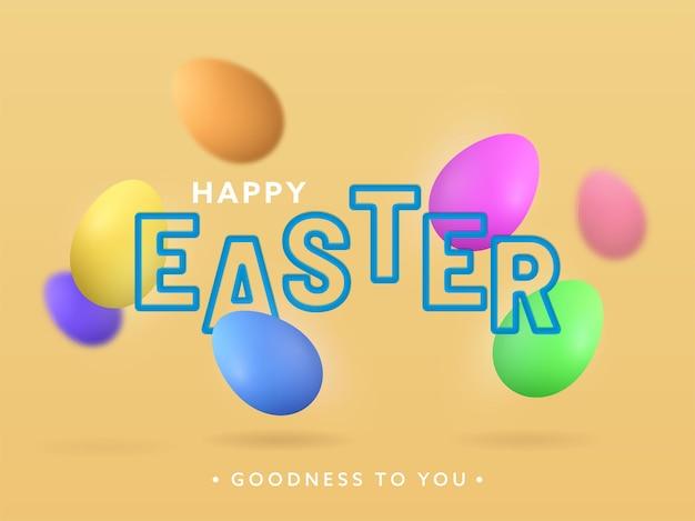 Vrolijk pasen tekst met kleurrijke eieren versierd