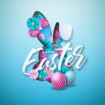 Vrolijk pasen-vakantieontwerp met ei en bloem