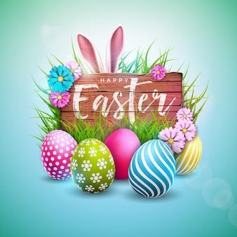 Vrolijk pasen-vakantieontwerp met geschilderde eieren en konijnoren