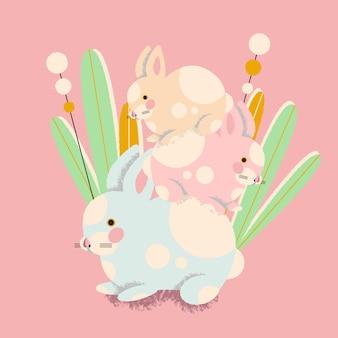 Vrolijk pasen vectorillustratie van konijntjes, konijnen met planten en bloemen