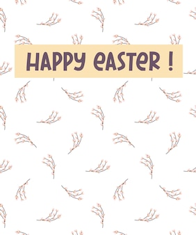 Vrolijk pasen wenskaart. ansichtkaart met een takje willow.vector afbeelding