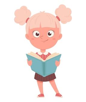 Vrolijk schoolmeisje met geopend boek leuk meisje stripfiguur terug naar school concept