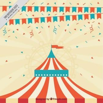 Vrolijke achtergrond met de tent van een circus Gratis Vector