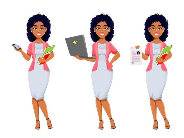 Vrolijke afro-amerikaanse zakenvrouw set van drie poses