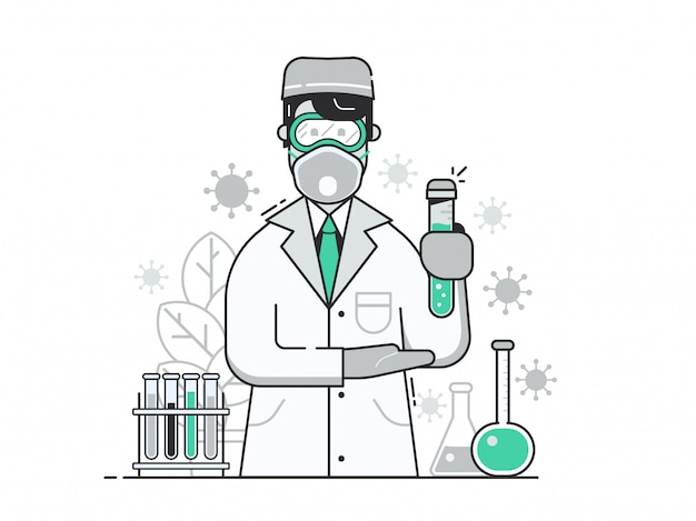 Vrolijke arts met virusvaccin in beschermingsmasker in medisch laboratorium.