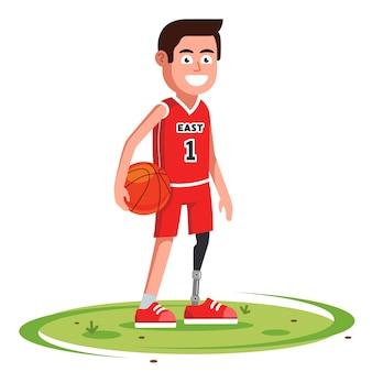 Vrolijke basketbalspeler met een prothetisch been staat op een open plek.