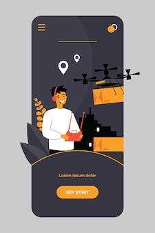 Vrolijke bezorgmanager die drone-dragende doos op mobiele app bestuurt