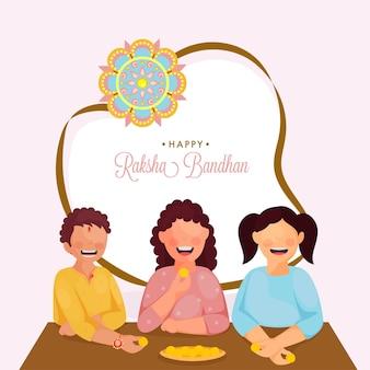 Vrolijke broer en zussen genieten van snoep (laddu) samen ter gelegenheid van raksha bandhan festival.