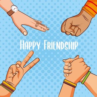 Vrolijke cartoons van de vriendschapendag