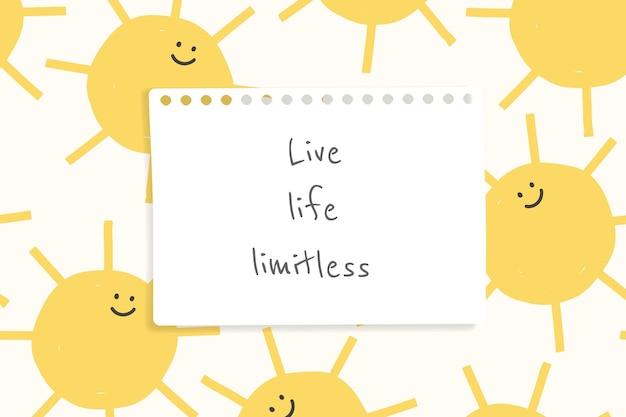 Vrolijke citaatsjabloon vector met schattige doodle weertekeningen banner