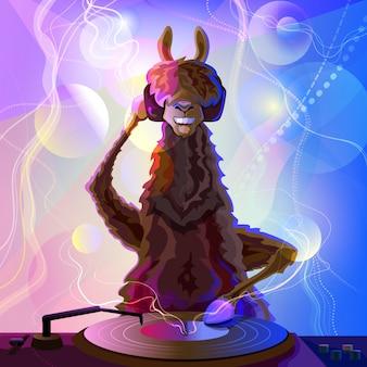 Vrolijke coole lama dj op console met koptelefoon op heet feestje