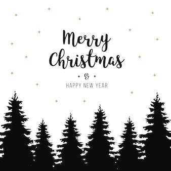 Vrolijke de boomensilhouet geïsoleerde achtergrond van kerstmisgroeten