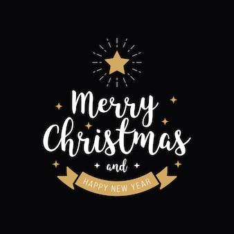 Vrolijke de tekst gouden zwarte achtergrond van de kerstmisgroet