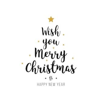 Vrolijke de tekst gouden zwarte geïsoleerde achtergrond van de kerstmisgroet Premium Vector
