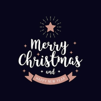 Vrolijke de tekst rosegold blauwe achtergrond van de kerstmisgroet Premium Vector