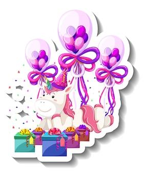 Vrolijke eenhoorn met geschenkdoos en confetti regenboog