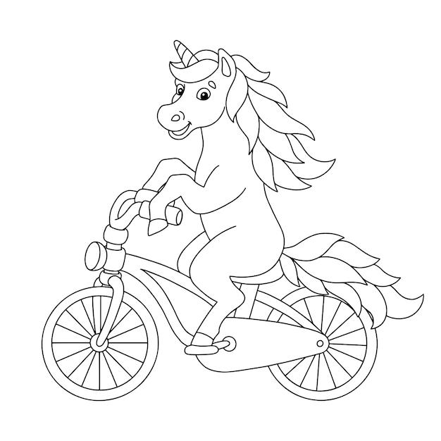 Vrolijke eenhoorn rijdt op een fiets kleurboekpagina voor kinderen