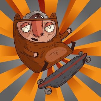 Vrolijke geïsoleerde skater doet stunt