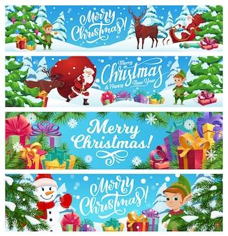 Vrolijke geplaatste kerstbanners.