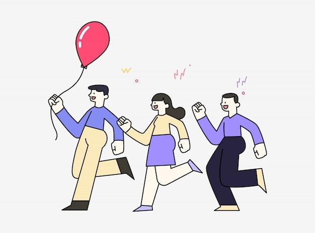 Vrolijke glimlachende kinderen die de lopende ballon van de holdingslucht, vriendschapsconcept, hand getrokken stijl vectorillustratie spelen.