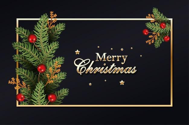 Vrolijke gouden kerstmiskalligrafie en de kroon doorbladeren met bessen