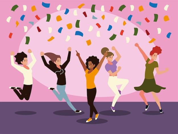 Vrolijke groep vrouwelijke springen vieren feestelijke confetti