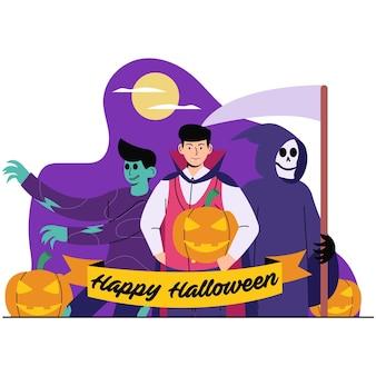 Vrolijke halloween vlakke afbeelding