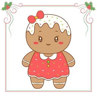 Vrolijke het koekjestekening van de kerstmis leuke gember met rood bessenkader