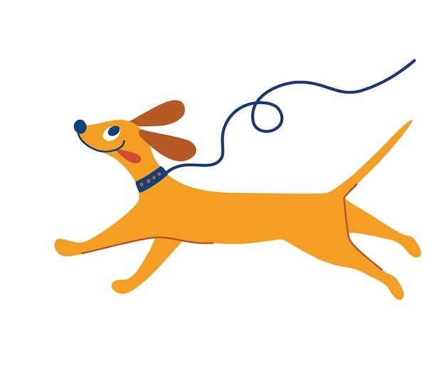 Vrolijke hond loopt. leuke hond aan de leiband. cartoon huisdier. beste vriendin. platte karakter vectorillustratie in vlakke stijl geïsoleerd op een witte achtergrond.