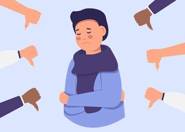 Vrolijke jonge man is omgeven door handen met duimen naar beneden. publieke afkeuring, niet-erkenning van het publiek, negatieve mening.