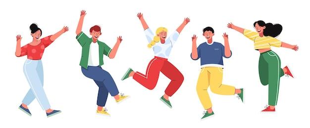 Vrolijke jonge mensen. jongens en meisjes springen en zwaaien met hun handen.