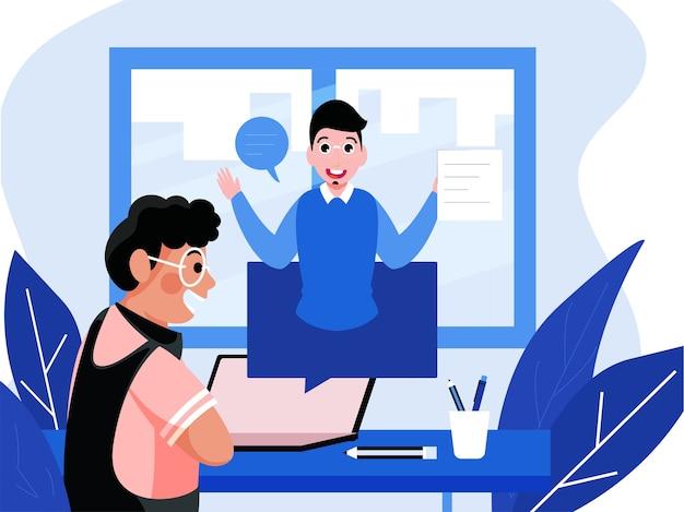 Vrolijke jongen interactie op videogesprek met leraar door laptop thuis voor online studie.